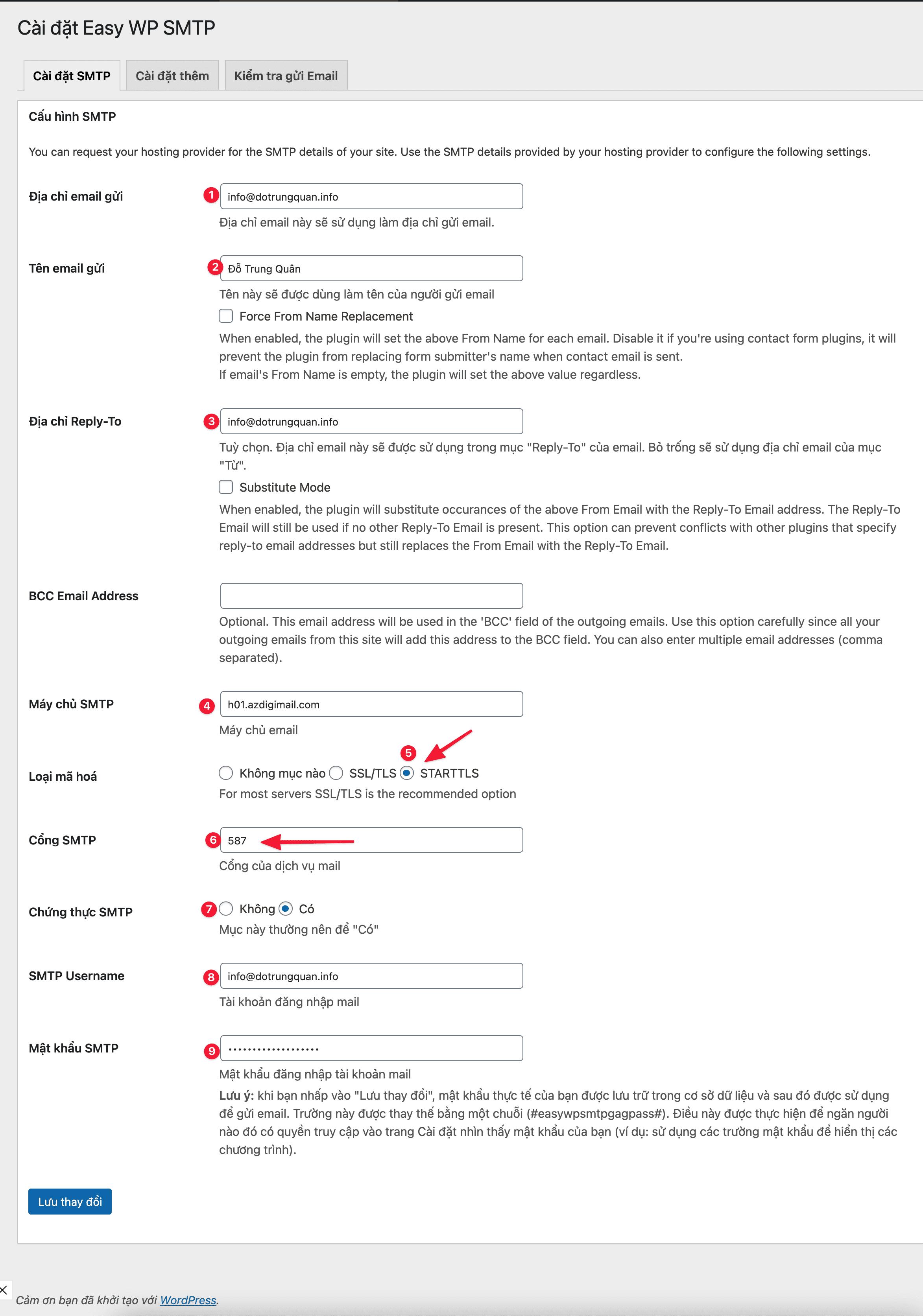 cấu hình account mail