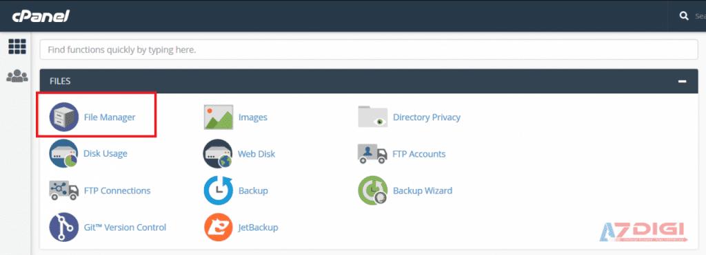 Cách truy cập File Manager