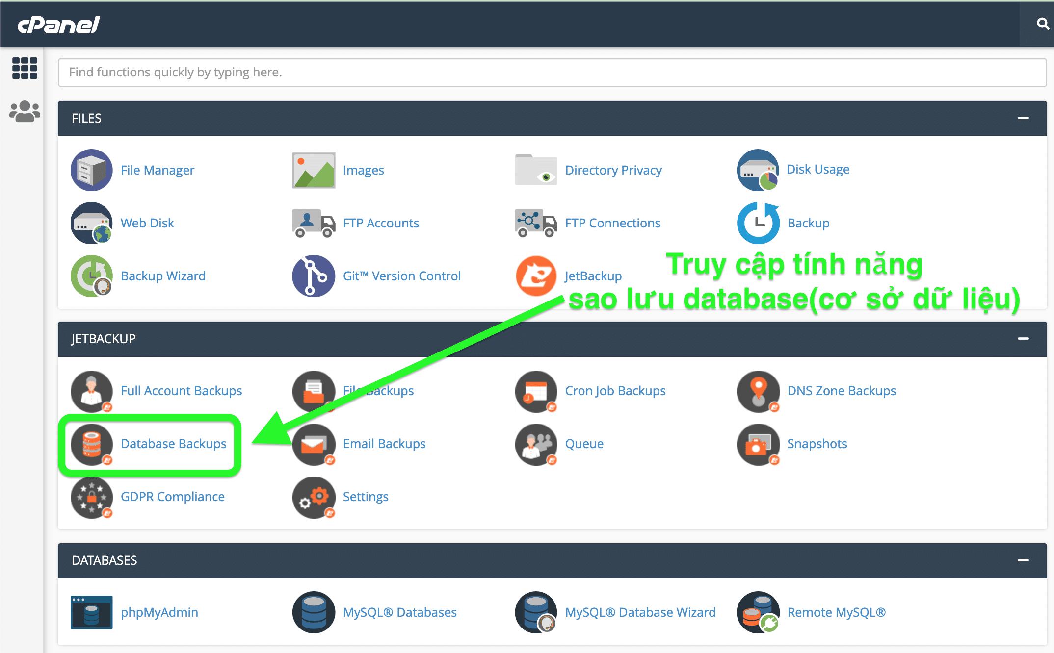 Tính năng Database backups trên cPanel