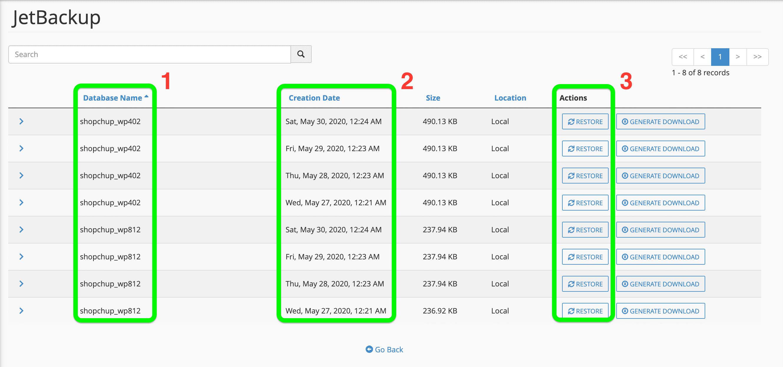 Giao diện Database Backups của Jetbackup