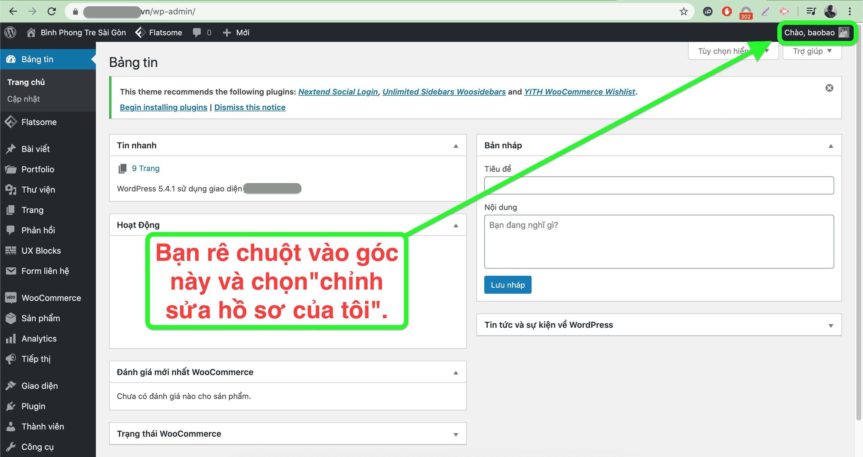 Giao diện bảng điều khiển wordpress - hướng dẫn đổi mật khẩu wordpress