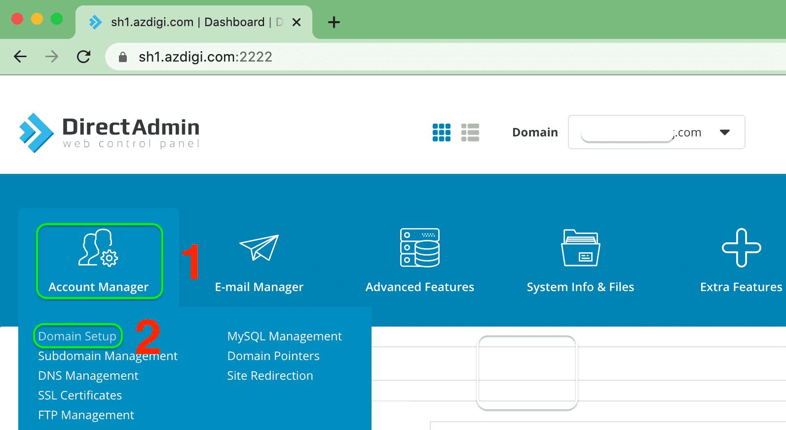 thêm addon vào gói SEO Hosting - Account Manager - Domain Setup