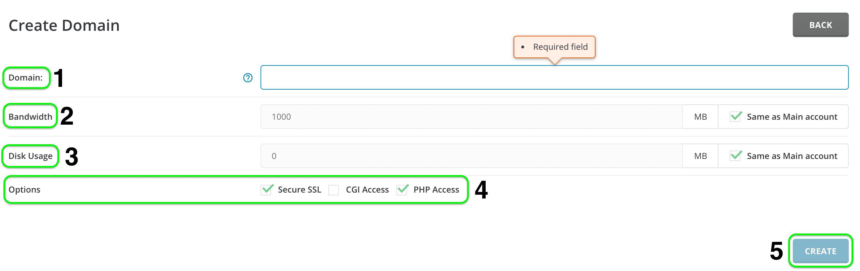 ADD NEW domain directadmin - thêm addon vào gói SEO Hosting