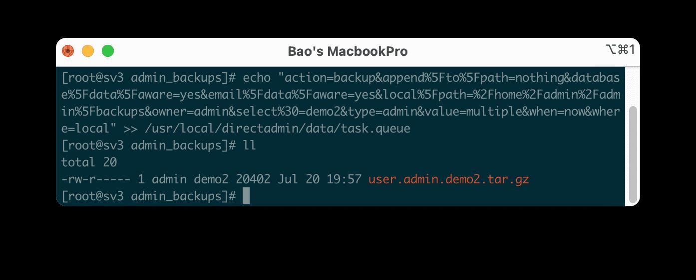 backup DirectAdmin với command line restore