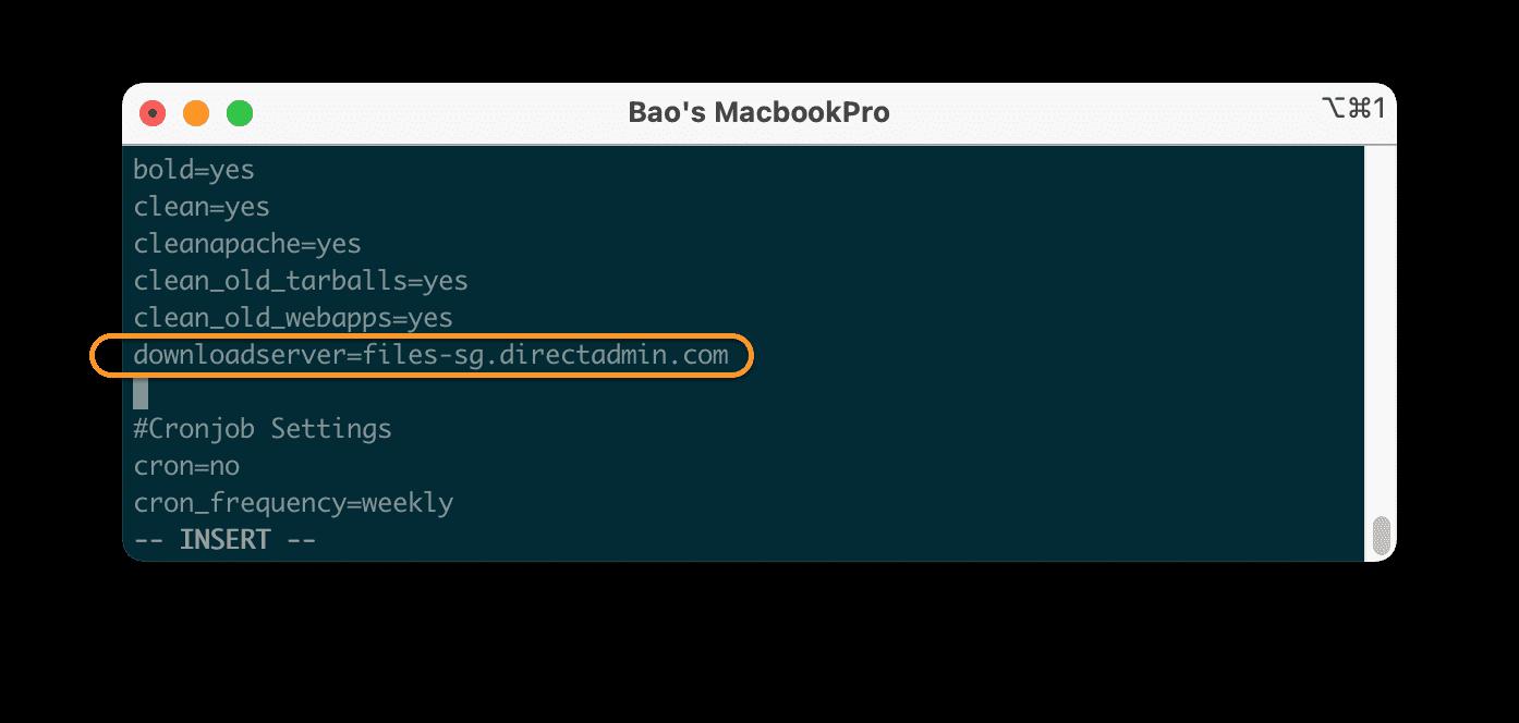 thay đổi máy chủ tải xuống DirectAdmin