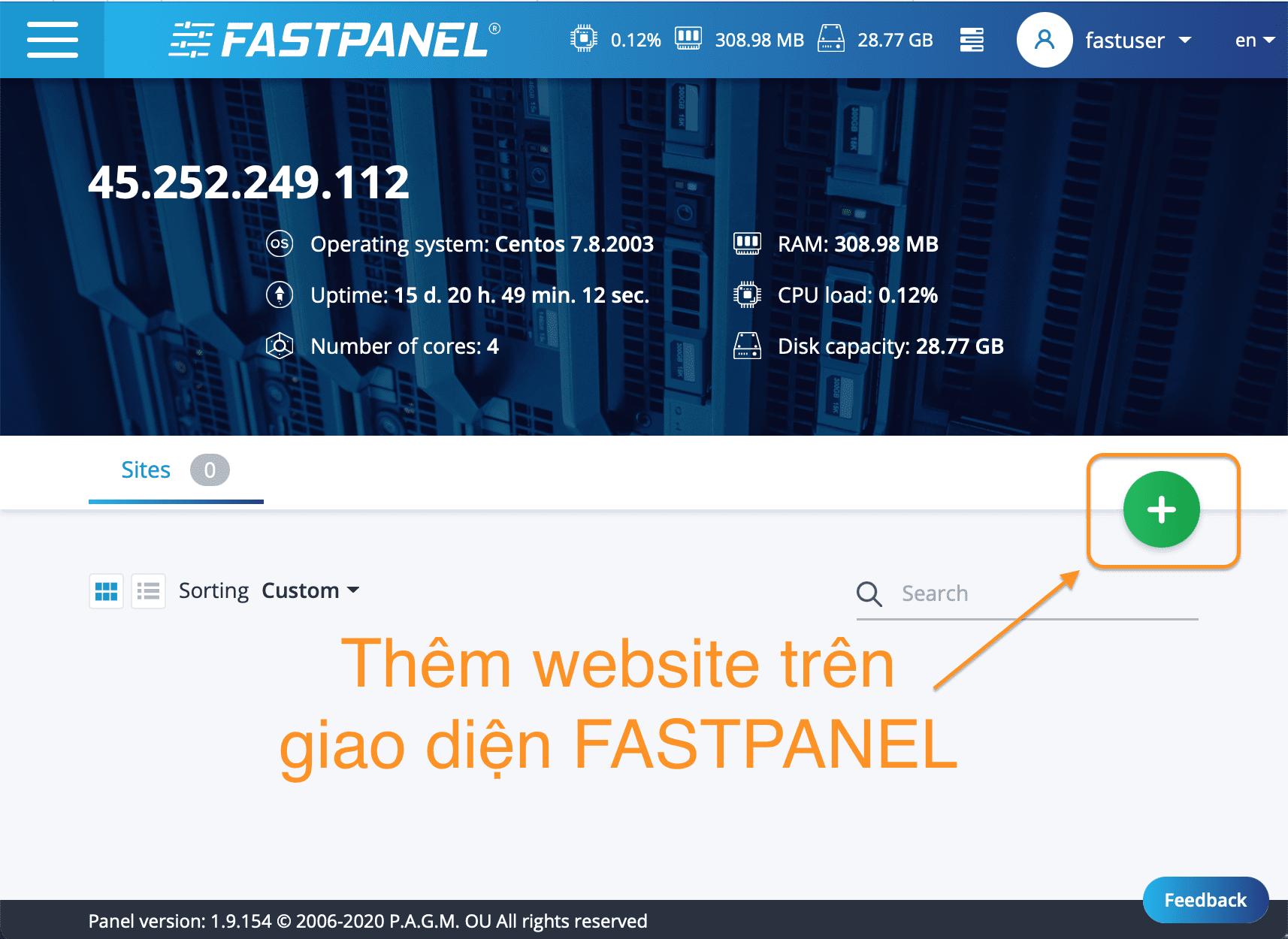 cài đặt WordPress lên FASTPANEL