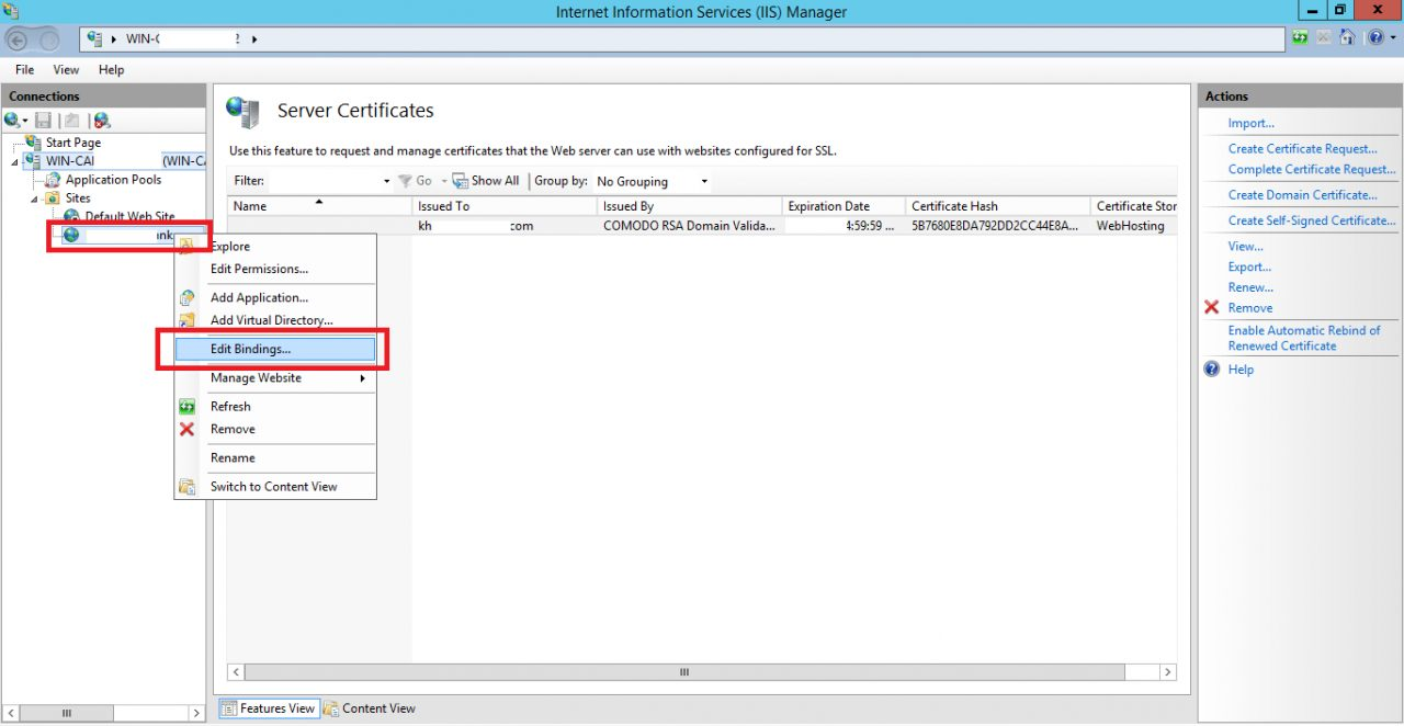Hướng Dẫn Cài SSL trên IIS 8 Windows Server 2012