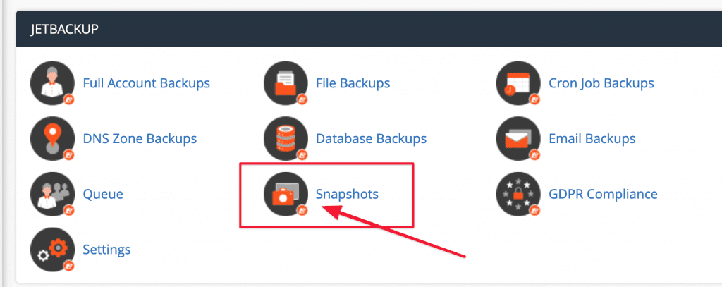Hướng dẫn sử dụng Snapshots trong JetBackup