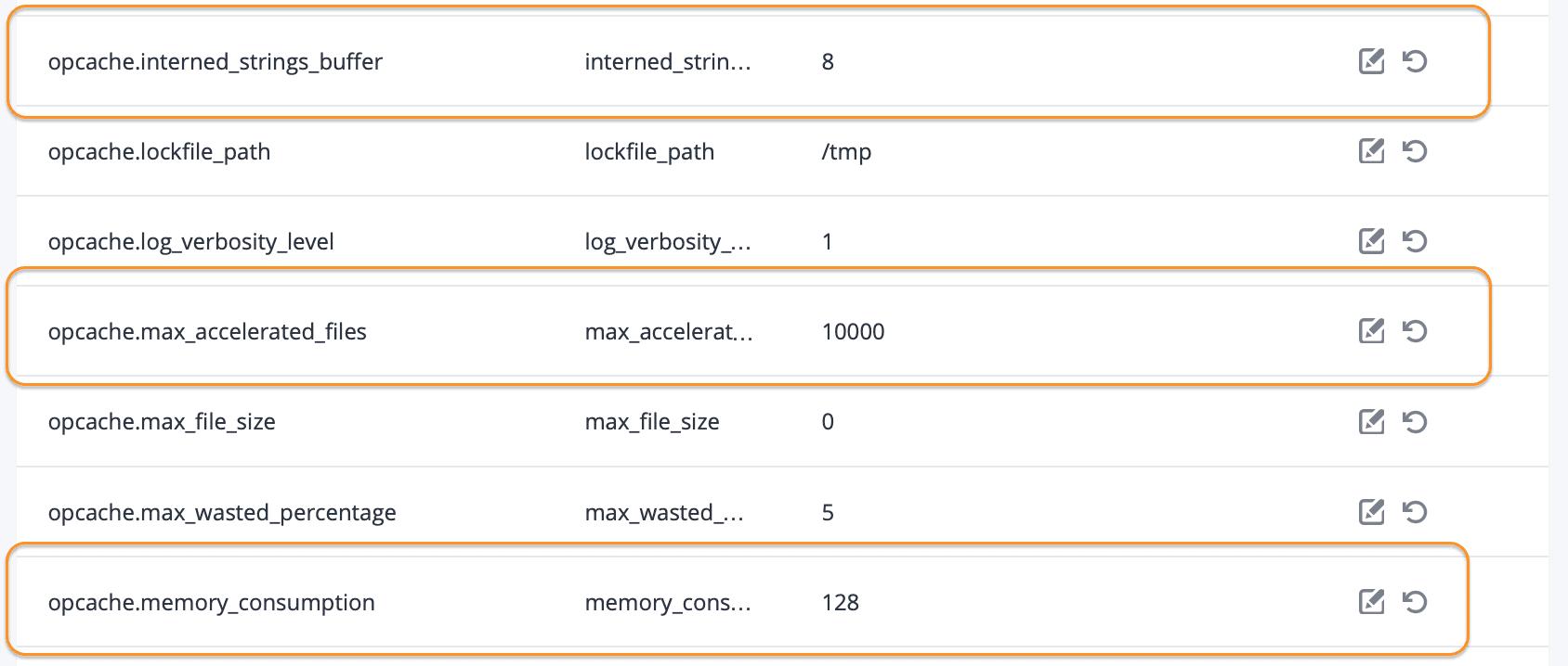 thay đổi thông số OPCache trên FASTPANEL change config