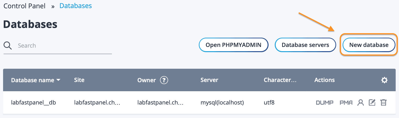 tạo database trên FASTPANEL - how to create database FASTPANEL