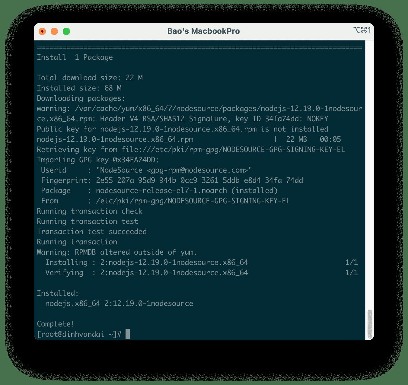 cài đặt Node.js 12 trên CentOS 7