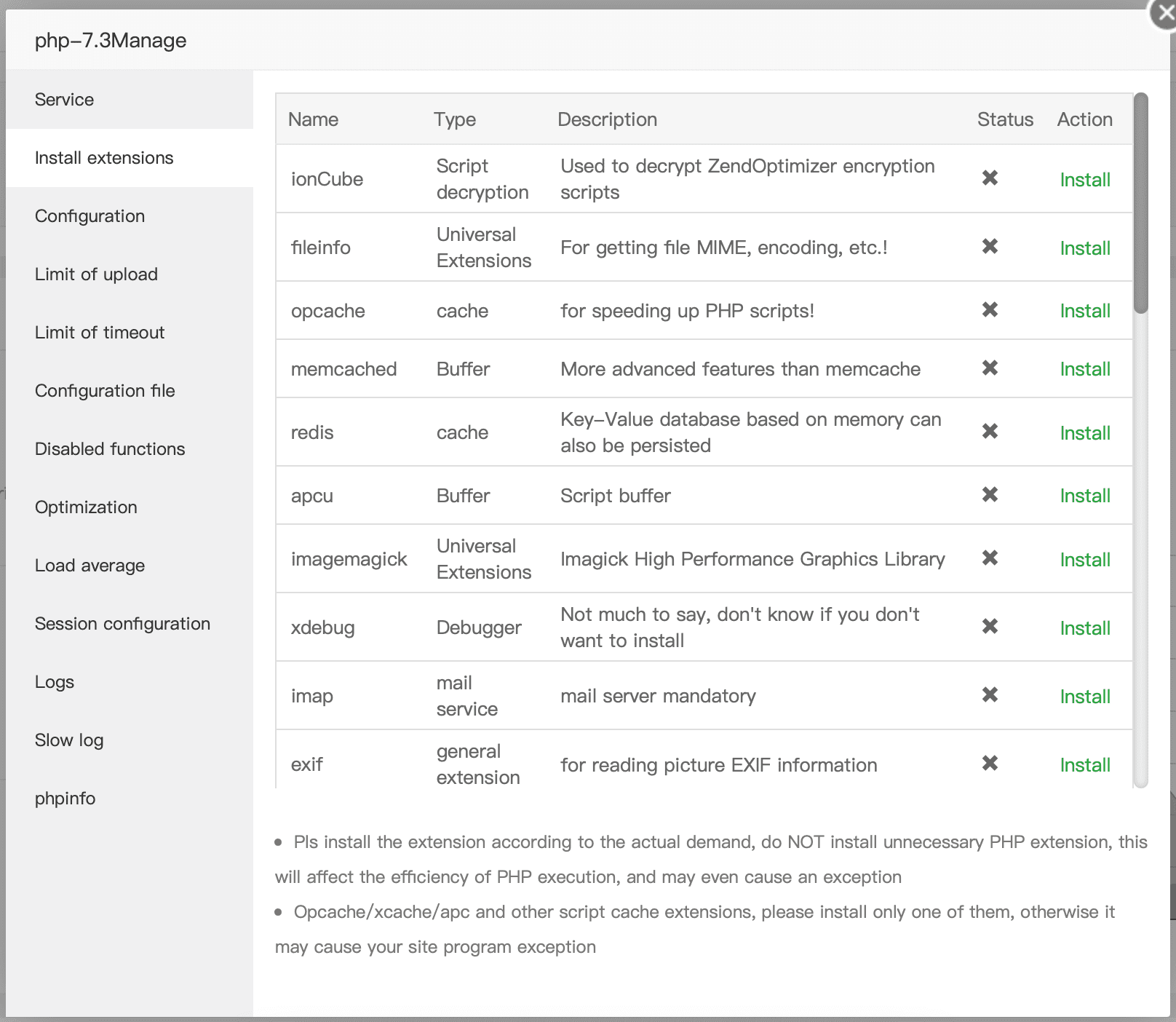 install enable - Kích hoạt OPCache trên aaPanel