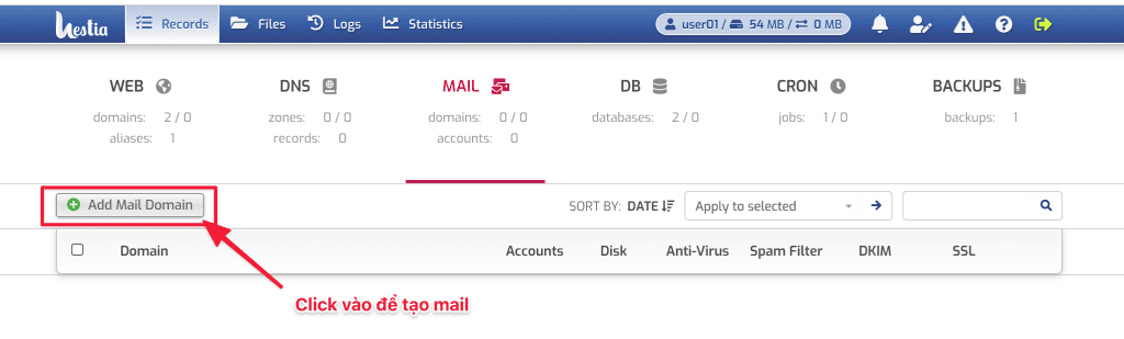 tạo Email trên HestiaCP