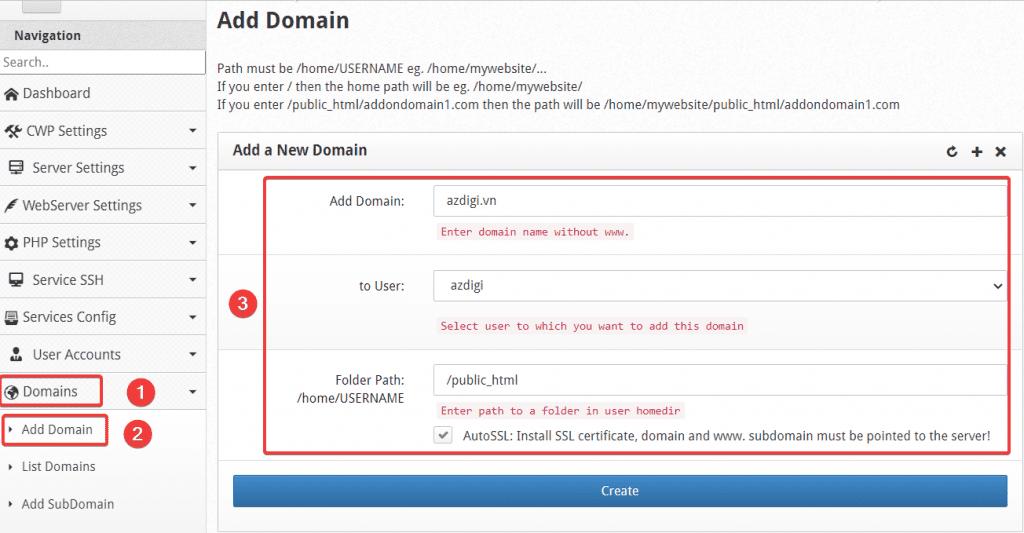 Hướng dẫn thêm Addon/Sub Domain vào Centos Web Panel