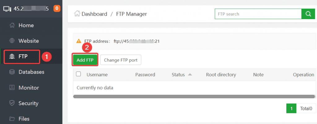 Tạo và sử dụng FTP trên aaPanel.