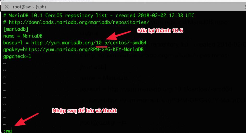 nâng cấp MariaDB 10.5 trên CyberPanel