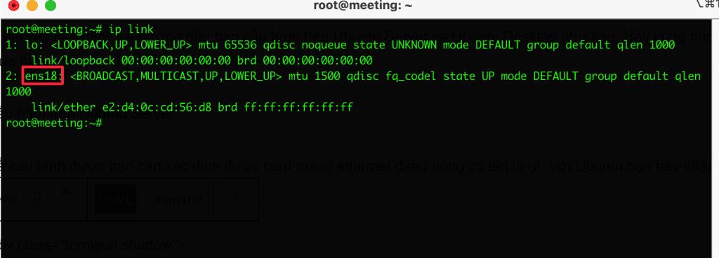 cấu hình IP Static trên Ubuntu