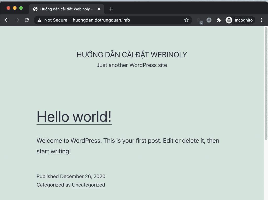 cài đặt WordPress trên Webinoly
