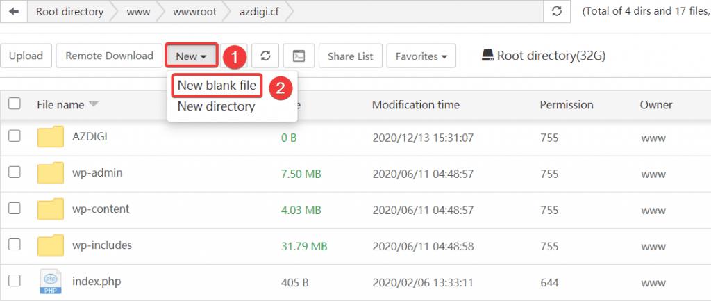 Hướng dẫn sử dụng File Manager aaPanel