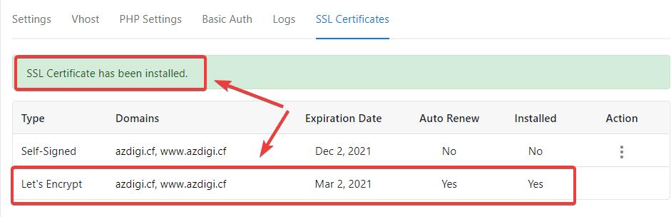 cài đặt SSL Let's Encrypt trên CloudPanel