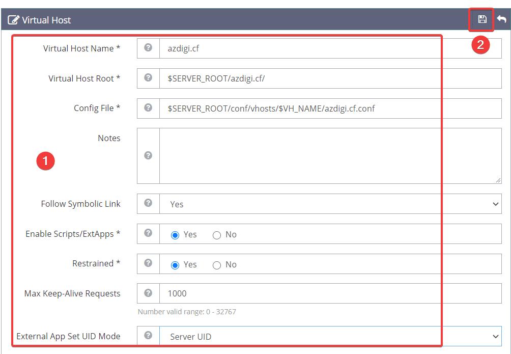 Cách thêm website vào OpenLiteSpeed WebAdmin GUI