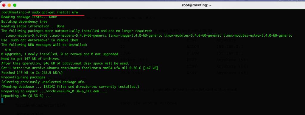 cài đặt cấu hình UFW trên Ubuntu Debian