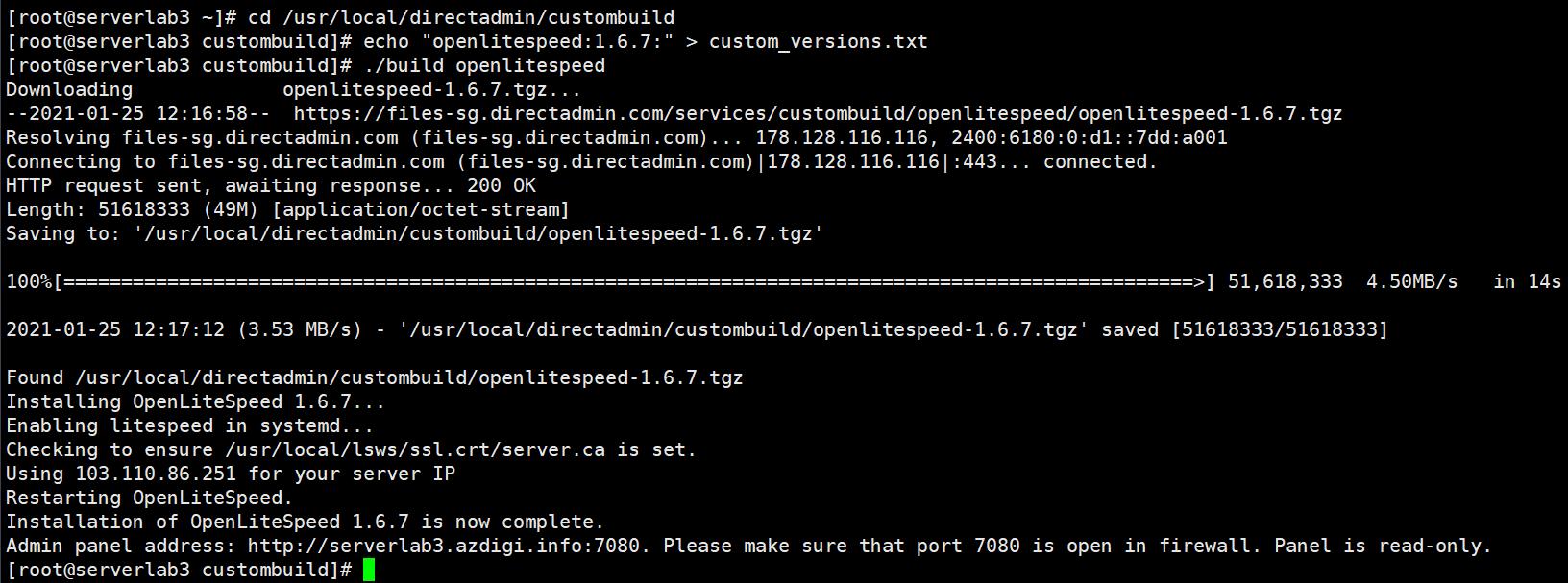 Nâng cấp phiên bản OpenLiteSpeed trên DirectAdmin