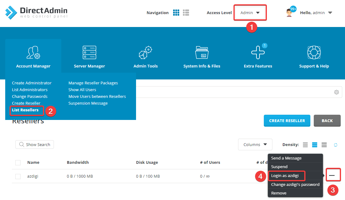 Hướng dẫn nâng cấp User lên Reseller bằng command trên Directadmin