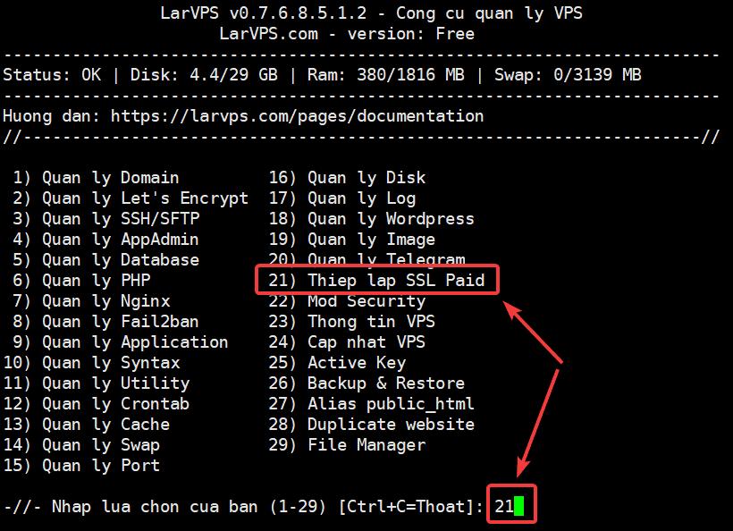 Cài đặt SSL trả phí trên LarVPS