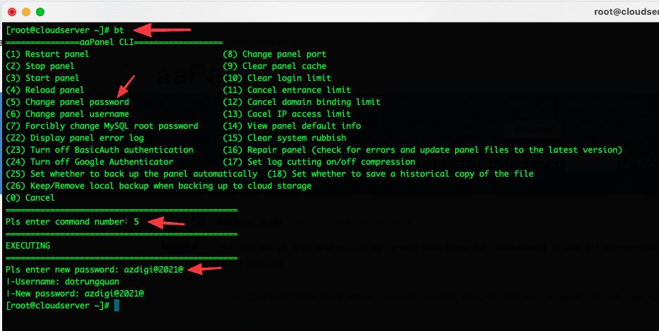Hướng dẫn khôi phục mật khẩu aaPanel