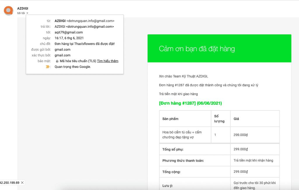 cấu hình mail thông báo đơn hàng trên Woocommerce