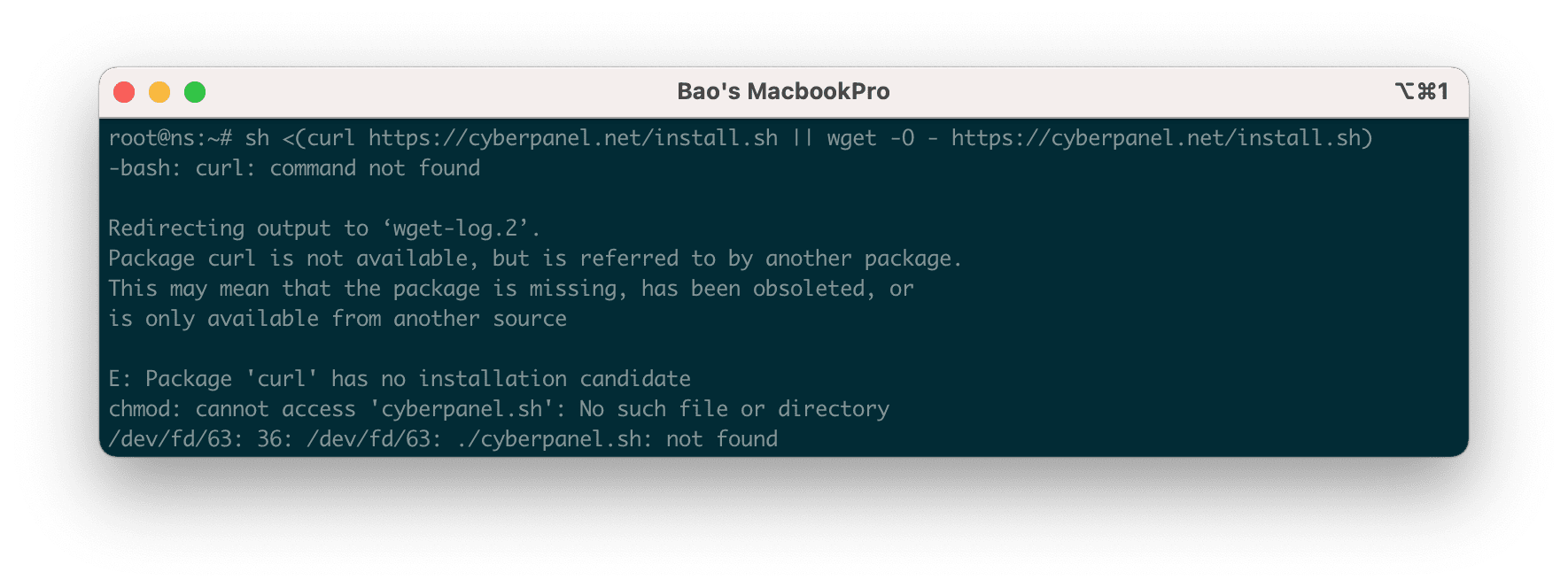 Lỗi: Package 'curl' has no installation candidate.
