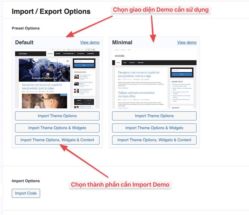 Hướng dẫn cài đặt và Import Demo Theme MyThemeShop