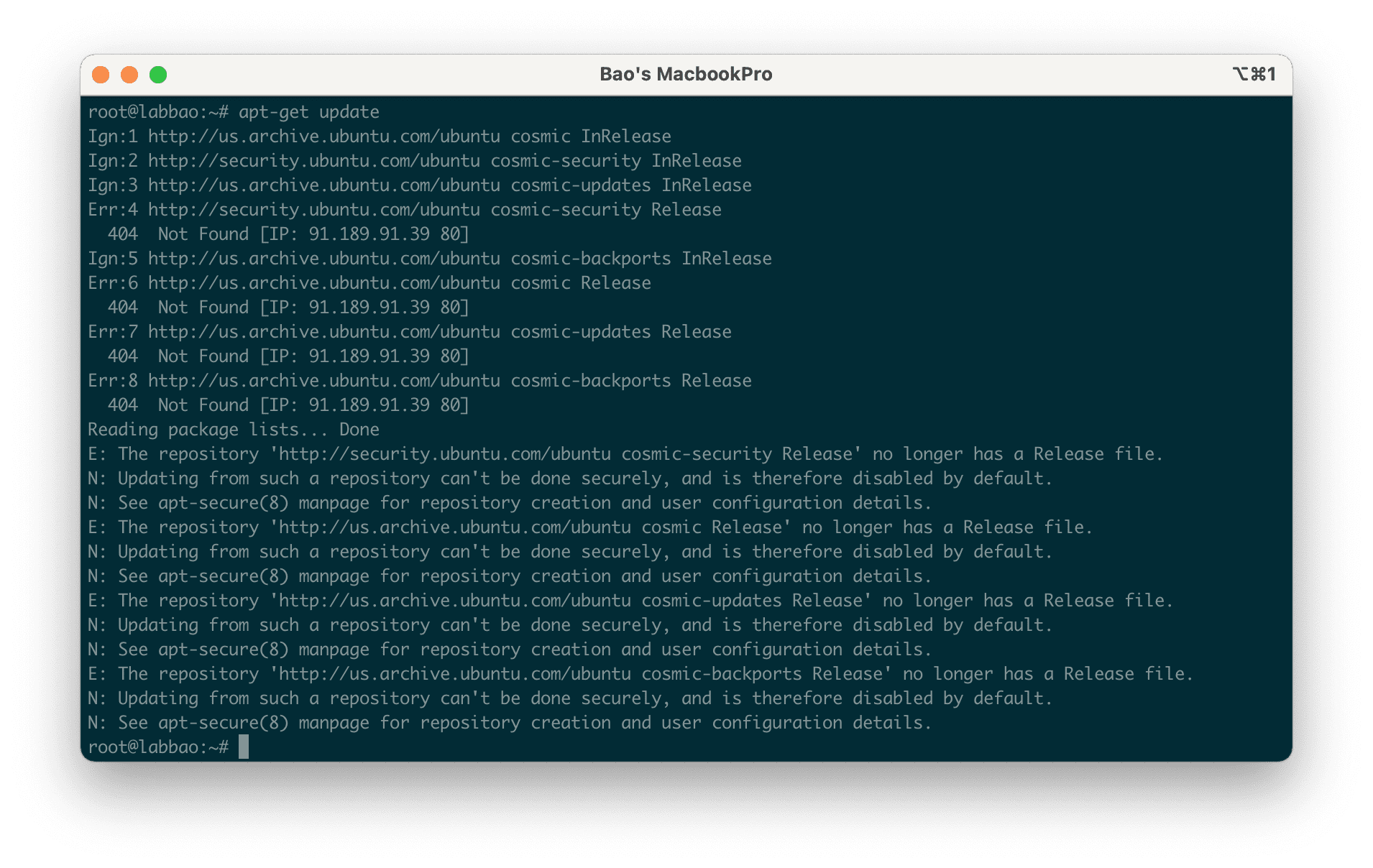 The repository no longer has a Release file - Unable to fetch some archives, maybe run apt-get update or try with --fix-missing?